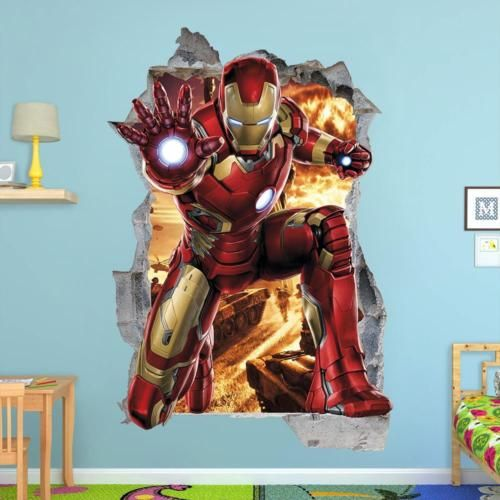 Iron Man 3d Wall Sticker Smashed Bedroom Avengers Removable Kids