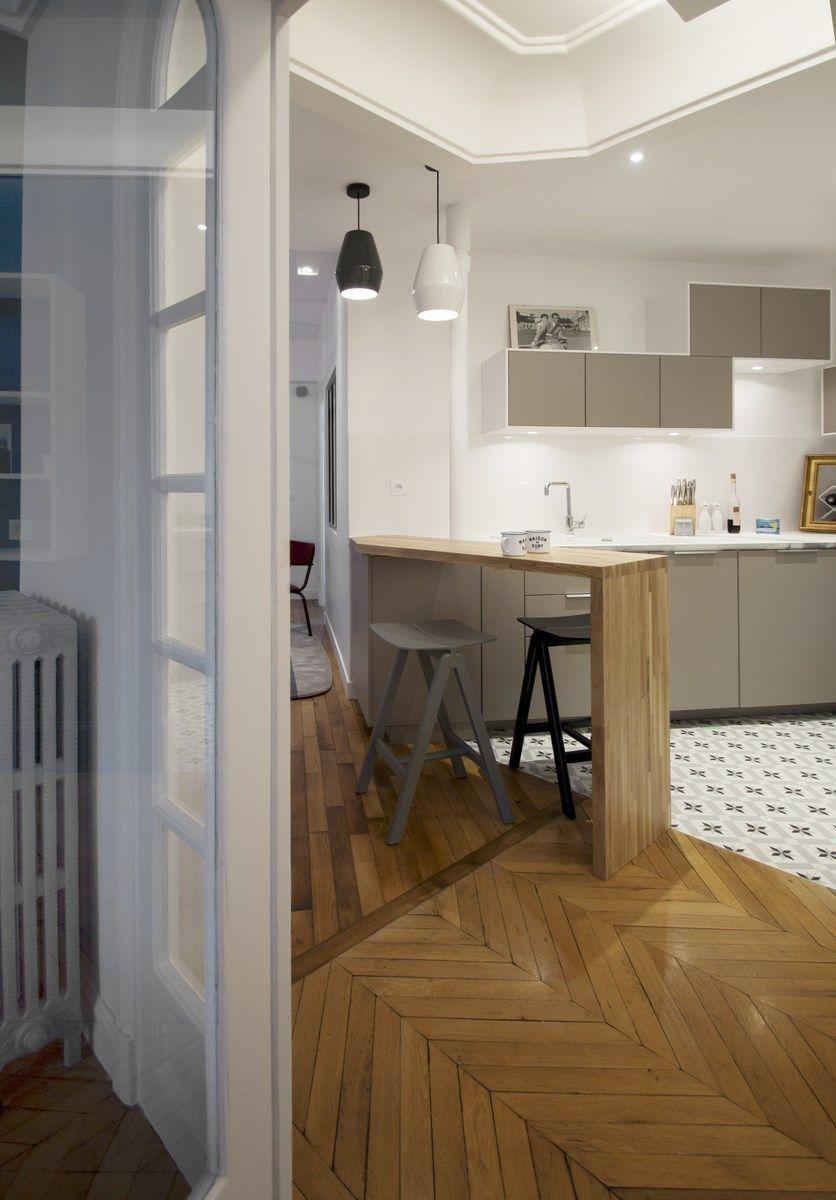 Bar en bois massif cuisine ik a carrrelage fa on carreaux de ciment plan de travail c ramique - Renovation plan de travail cuisine ...