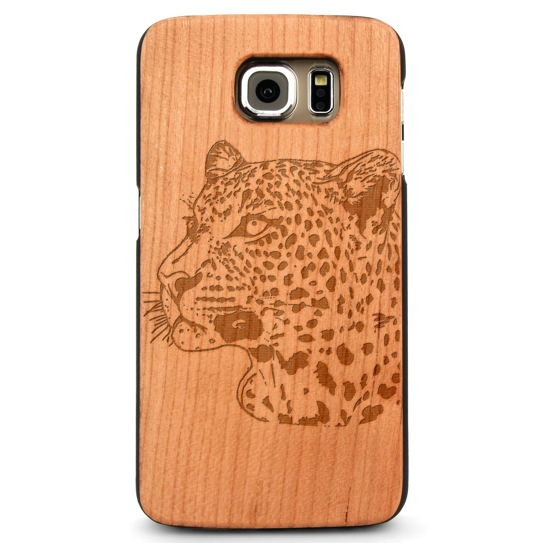 African Leopard- Laser Engraved Wood Phone Case (Maple,Cherry,Black,Cork)