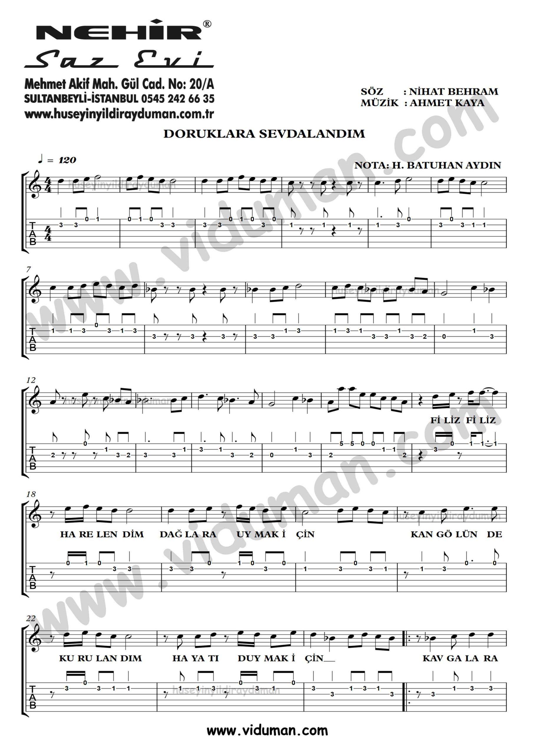 Doruklara Sevdalandim Ahmet Kaya Gitar Tab Solo Notalari Gi Tar Muzik Marti Ni