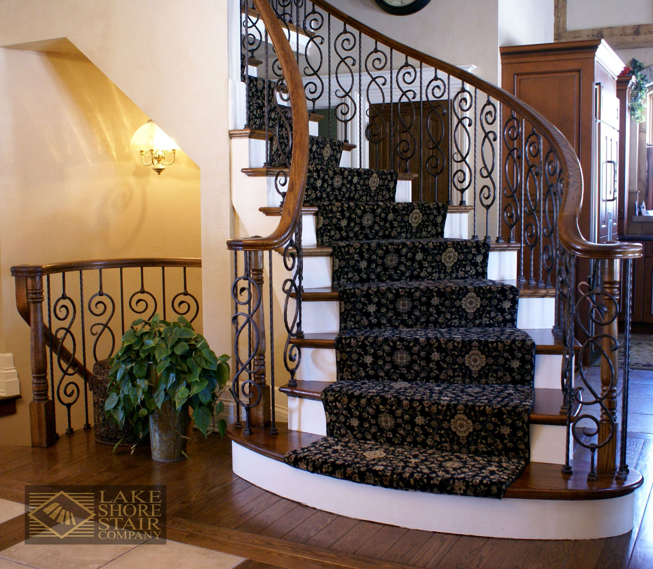 Best Beautiful Wooden Staircase With Painted Wood Risers 640 x 480