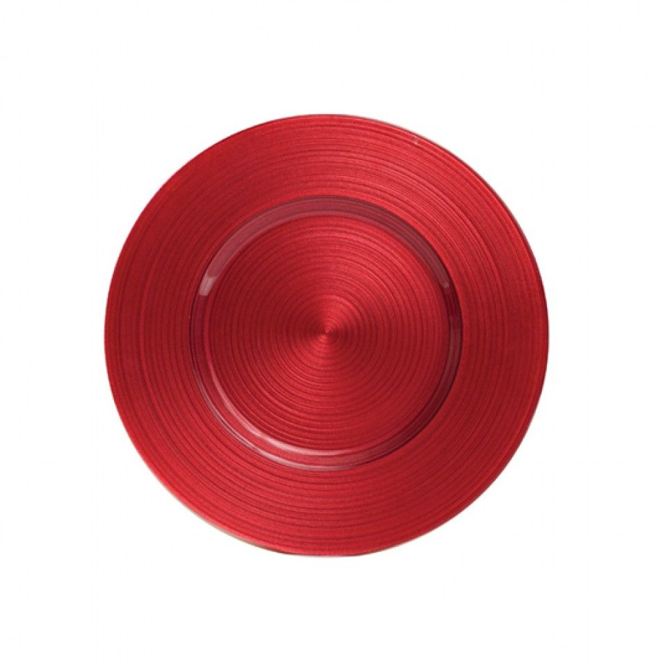 Ripple Glass Charger Plates™   Red BULK (4 Plates) [403376 Ripple Red