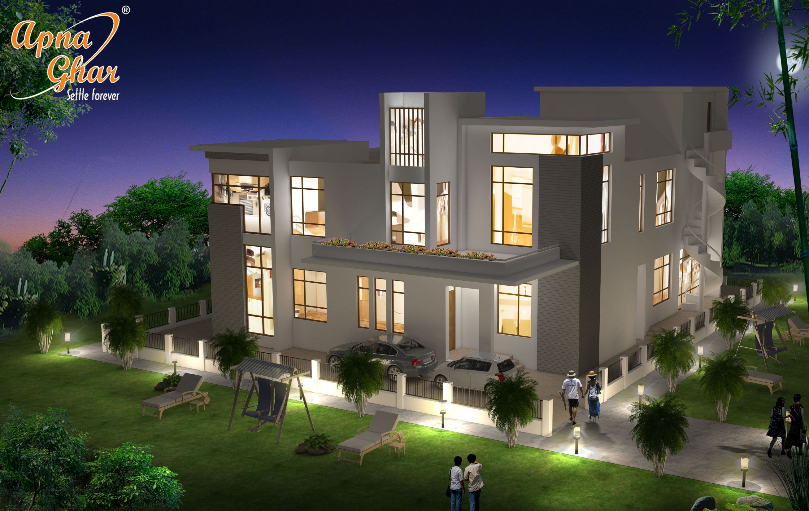 Beautiful night view of bungalow house design in 504m2 21m x 24m click
