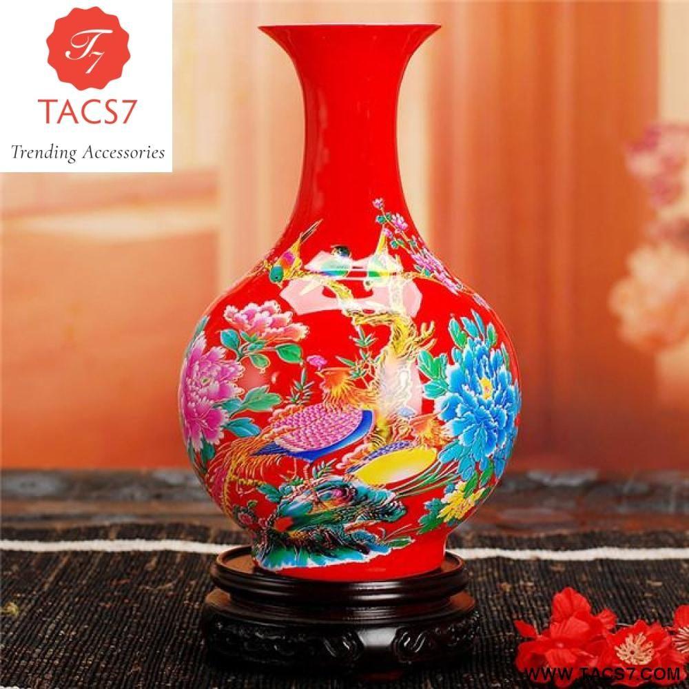 Modern Jingdezhen Ceramic Yellow Vase Home Decoration Red Porcelain Flower Vases With Flowers And Birds Lotus And Fi Yellow Vase Flower Vases Porcelain Flowers
