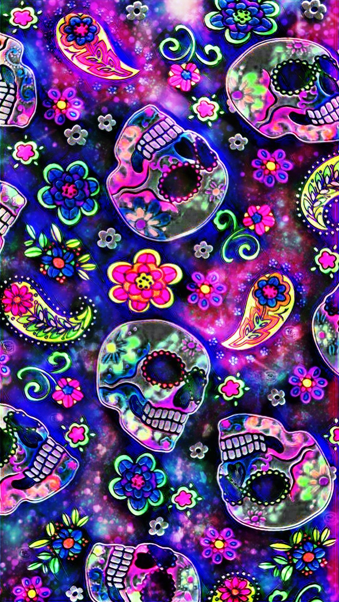 Paisley Skulls Galaxy Made By Me Patterns Colorful Glitter Galaxy Wallpapers Backgrounds Sku Sugar Skull Wallpaper Skull Wallpaper Pink Skull Wallpaper