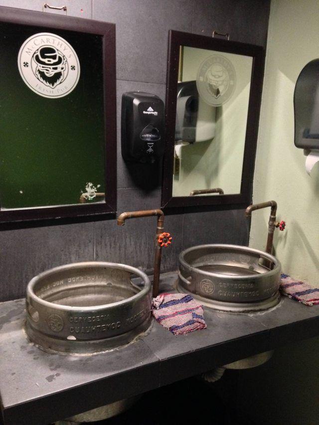This Irish Pub S Bathroom Sinks Are Made From Beer Kegs Beer