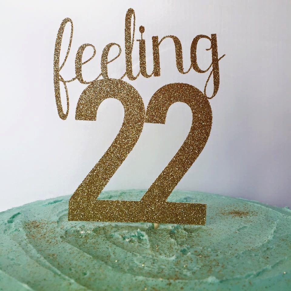 22nd Birthday Cake Topper, Birthday Cake Glitter Topper
