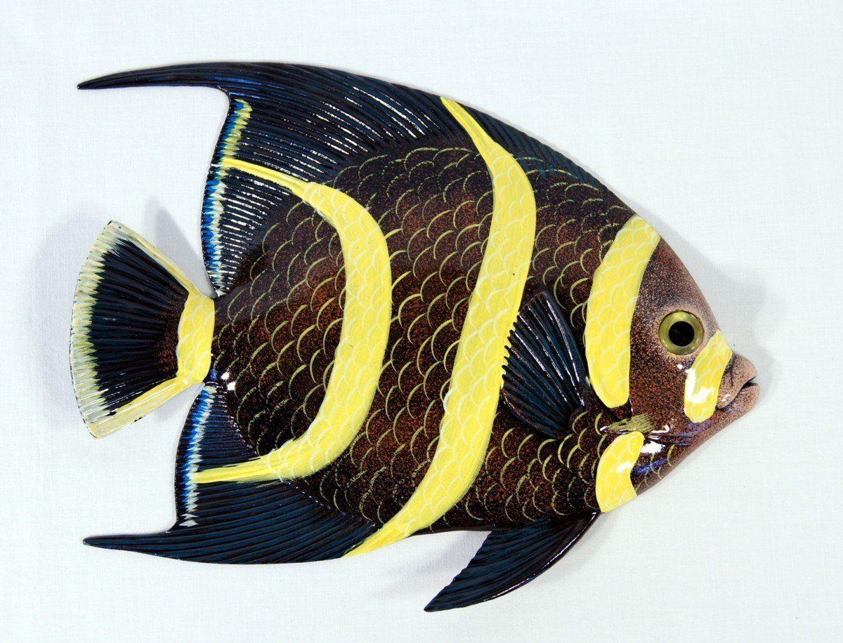 Handpainted Tropical Fish Replica Wall Mount Decor Plaque Black 8 ...