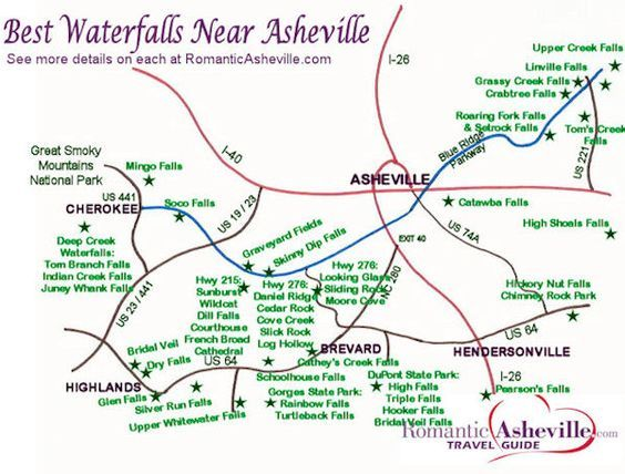 Asheville NC Waterfall Map trip is mapped out ideas Pinterest