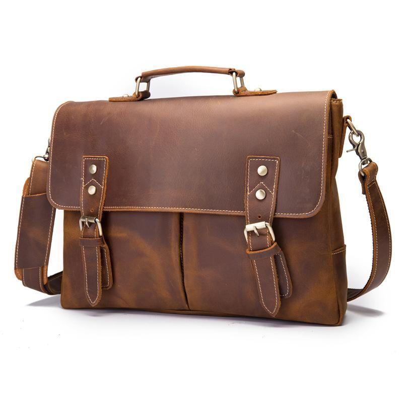 Bike Messenger Bag Genuine Leather Business Crossbody Tote Briefcase Satchel