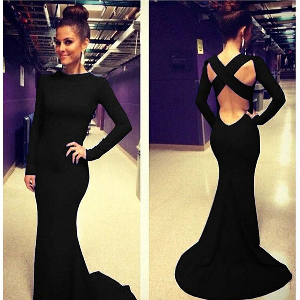 Sexy Women Backless Prom Gown Bodycon Ball Party Evening Formal Maxi Long Dress  Black e4b2873bb148