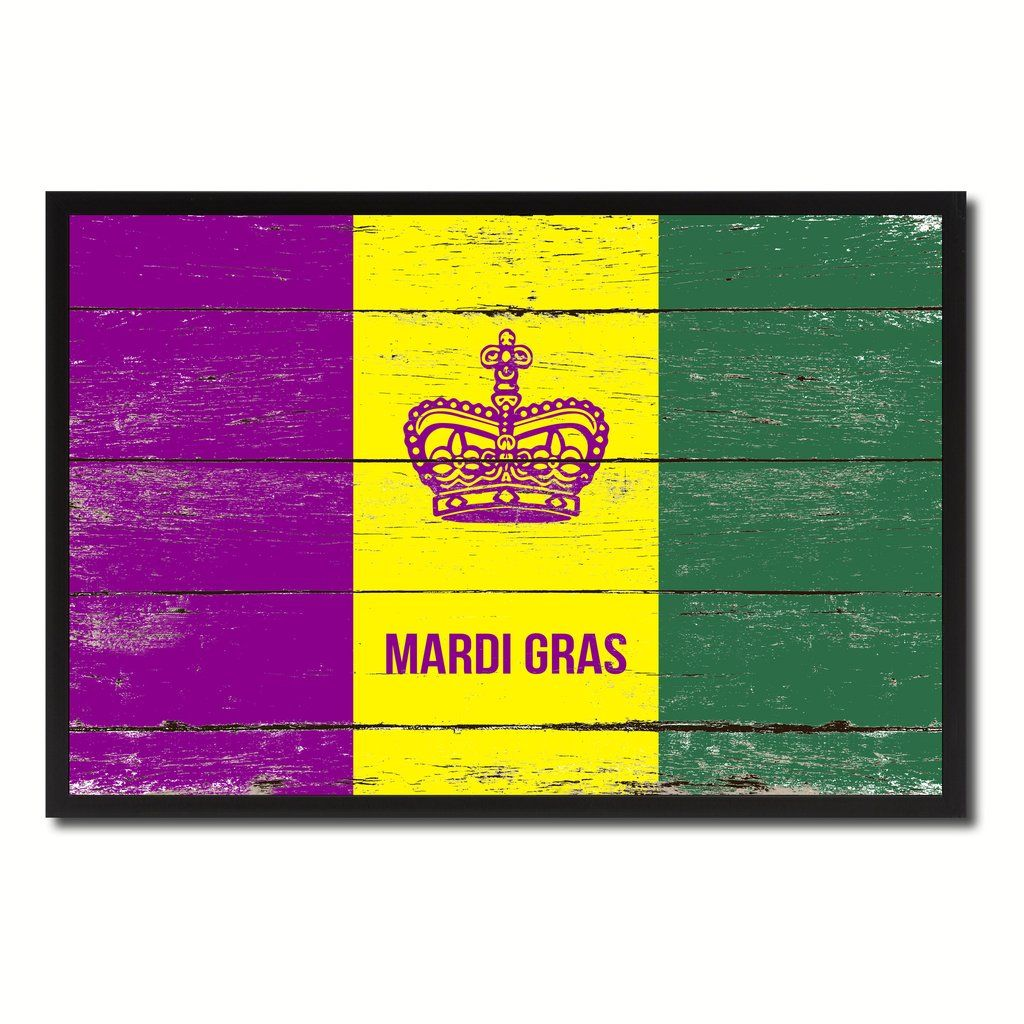 New Orleans Mardi Gras Flag Vintage Canvas Print with Black Picture ...