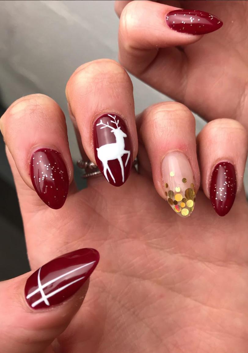 nail art de noël vernis semi permanent rouge à paillette