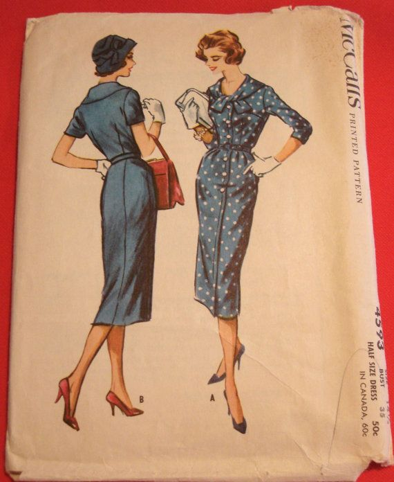 1950s Slim Tea Dress Sewing Pattern McCalls 4593 Sz14.5 B35 Four ...