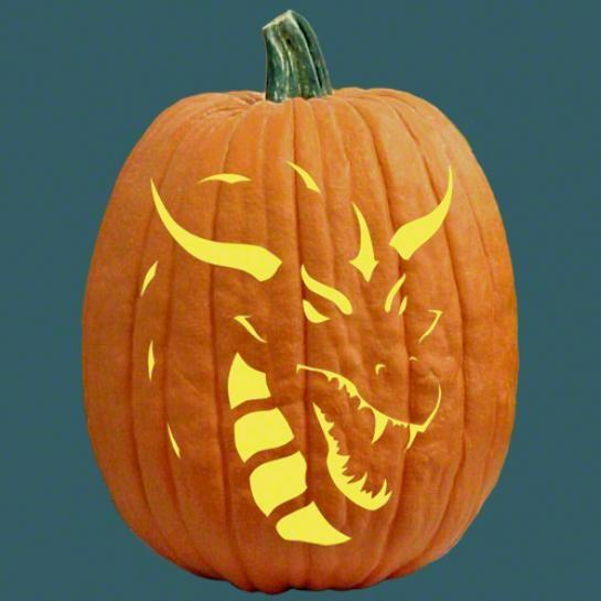 Dragon pumpkin stencil