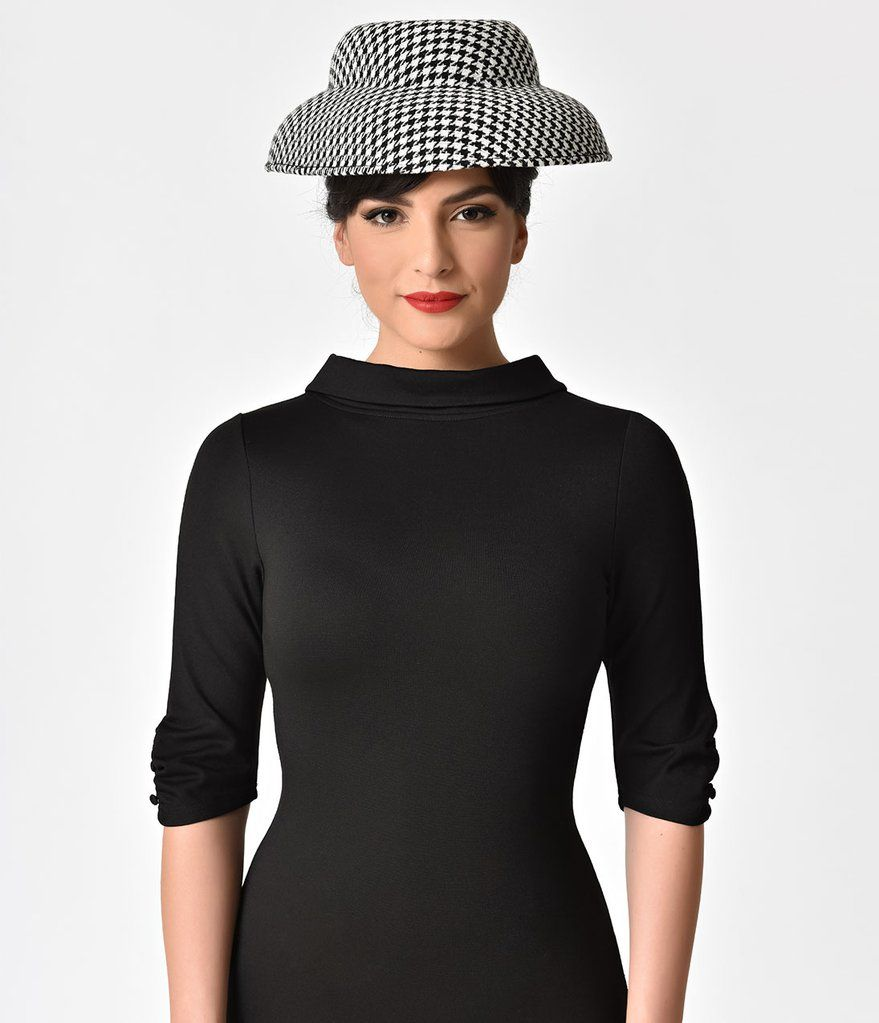 4eb3b4bc76f33 Unique Vintage Black   White Houndstooth Print Mushroom Style Hat I really  like the collar style