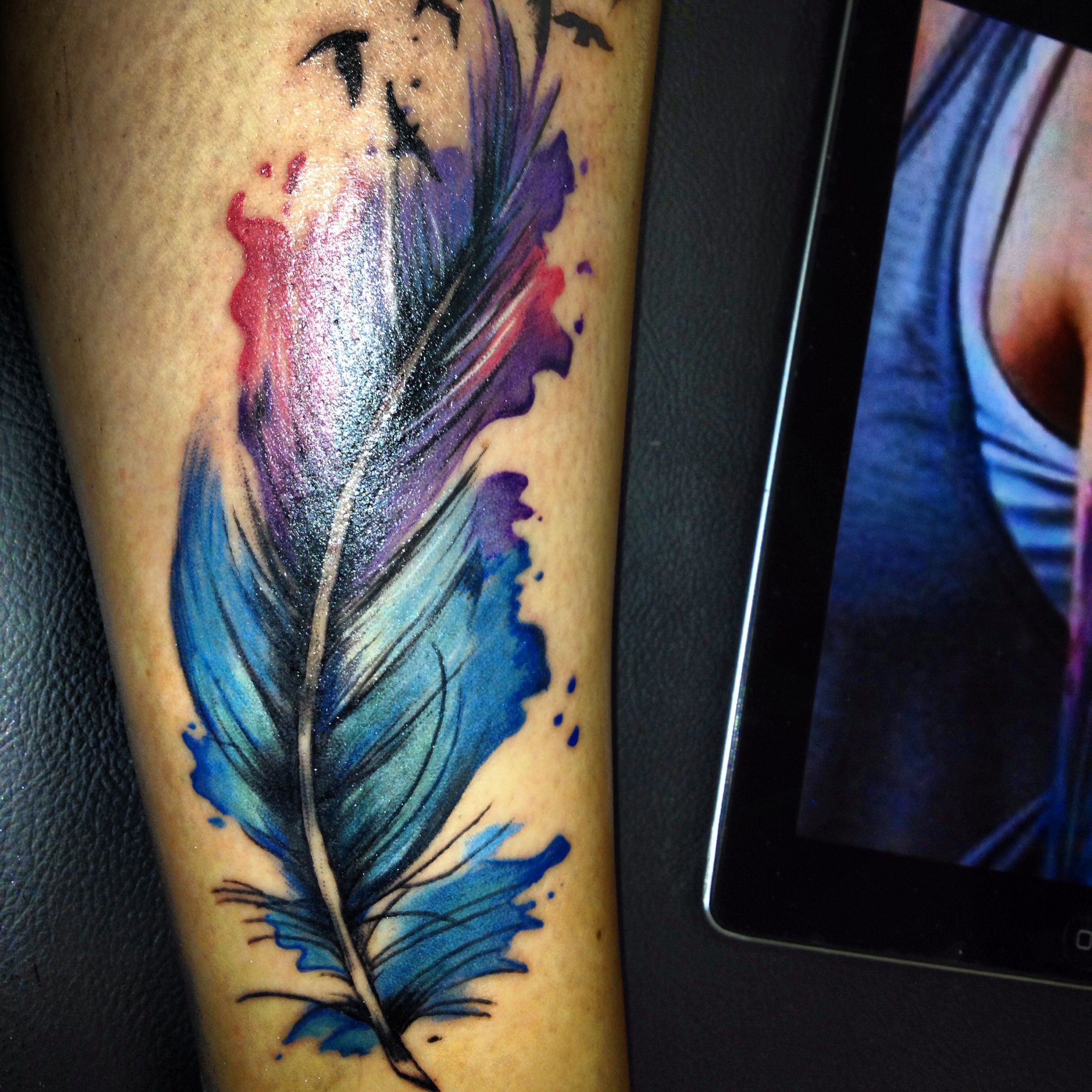tattoo #ink #colour #feather #abstract | Tattoos done by Myself ...