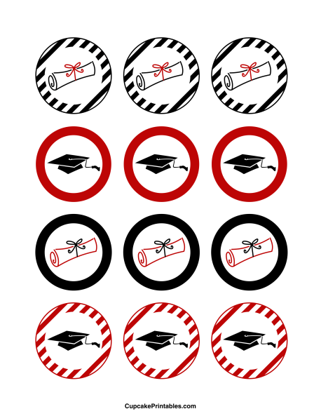 Graduation cupcake toppers use the circles for cupcakes party graduation cupcake toppers use the circles for cupcakes party favor tags and more negle Gallery