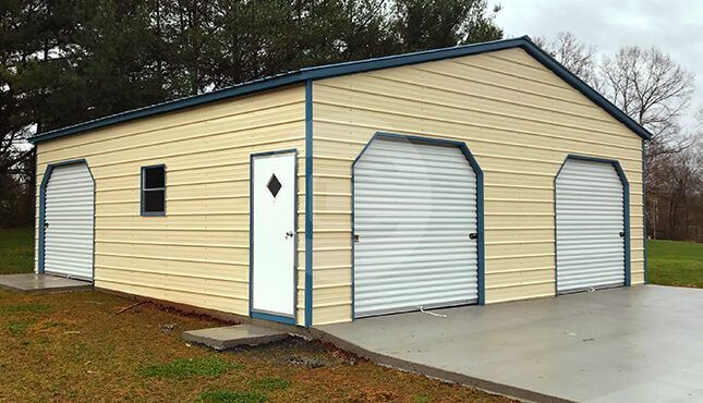 Prefabricated Metal Garage With Rto 30x31x10 With 3 Garage Doors Prefab Metal Garage Metal Garages Prefab