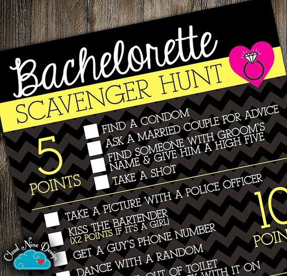 Bachelorette Party Game Scavenger Hunt {Instant Download} - Games for the Bride & Bridal Party Printable DIY, Weddings, Bridesmaid, Bridal Showers