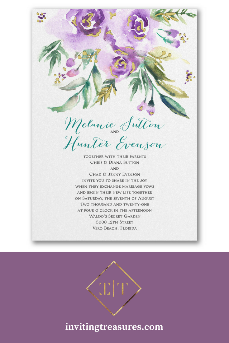 Watercolor flowers wedding invitation | purple wedding invitations ...