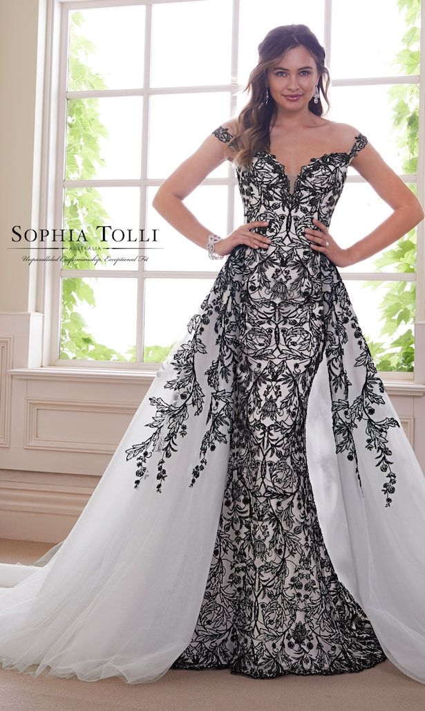 Add Drama To Your Bridal Look With These Edgy Black Wedding Dresses Belle The Magazine Black White Wedding Dress Black Lace Wedding Dress Form Fitting Wedding Dress