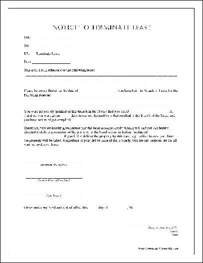 free notarized notice to terminate lease from formville