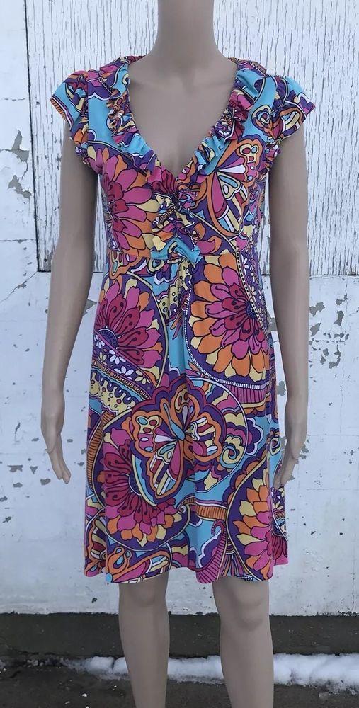 Lily Pulitzer Clare Optical Confusion Mod V Neck Dress Size Medium ...