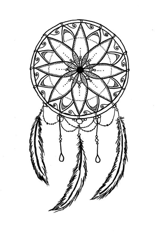 Black and White Dreamcatcher Printable Coloring Page