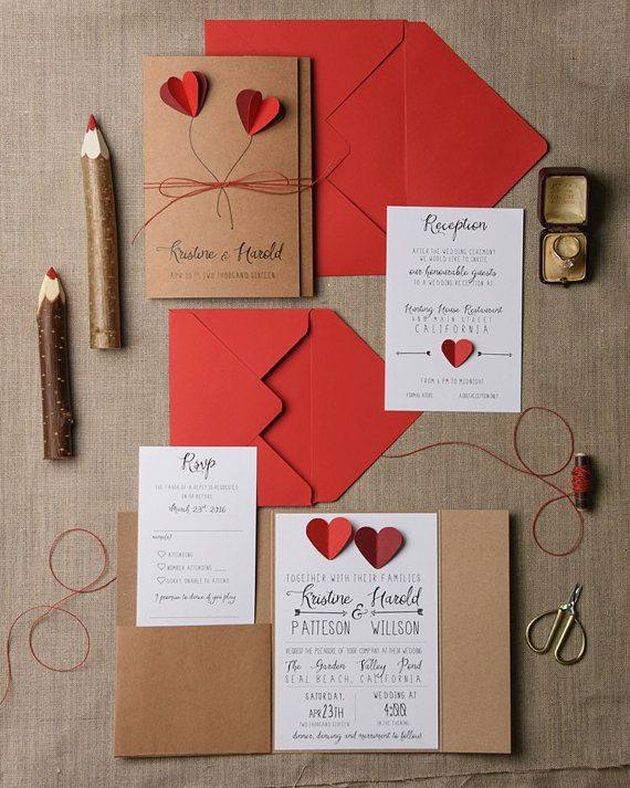 Rustic Wedding Invitation Set 20 Hearts Suite Red