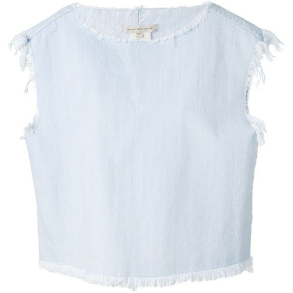 Marc By Marc Jacobs Raw Edge  Denim Blouse (10,085 PHP) ❤ liked on Polyvore featuring tops, blouses, blue, blue top, round neck crop top, cap sleeve top, round neck top and marc by marc jacobs