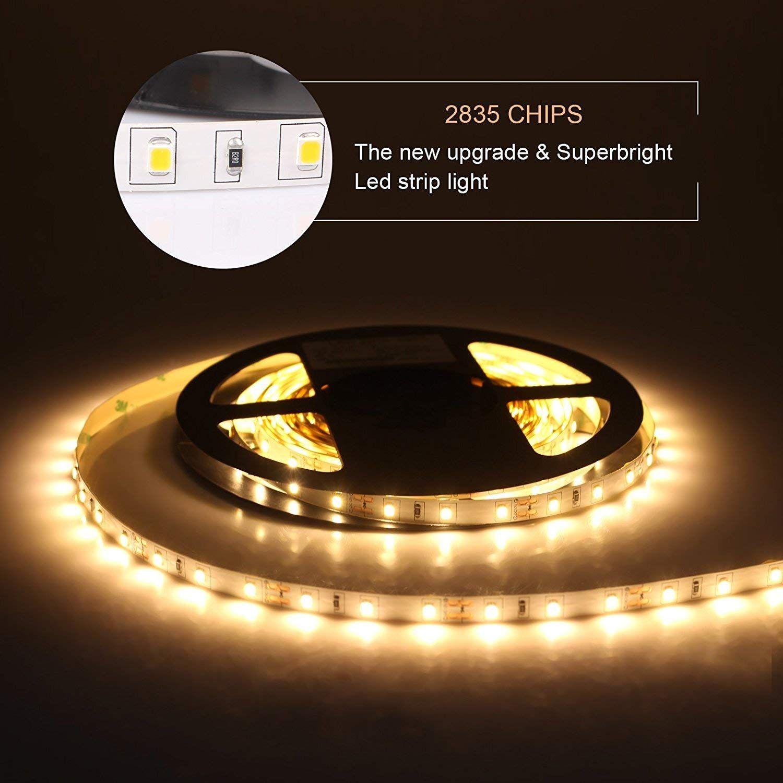 Sumaote 16 4ft Flexible Led Strip Light 300 Units Smd 2835 Leds Warm White 3000k Dc12v Led Tape Wate Flexible Led Strip Lights Led Strip Lighting Bar Decor