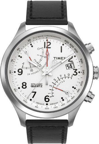 Timex Men s T2N701 Intelligent Quartz SL Series Fly-Back Chronograph Black  Leather Strap Watch Timex fcfb12a3cc