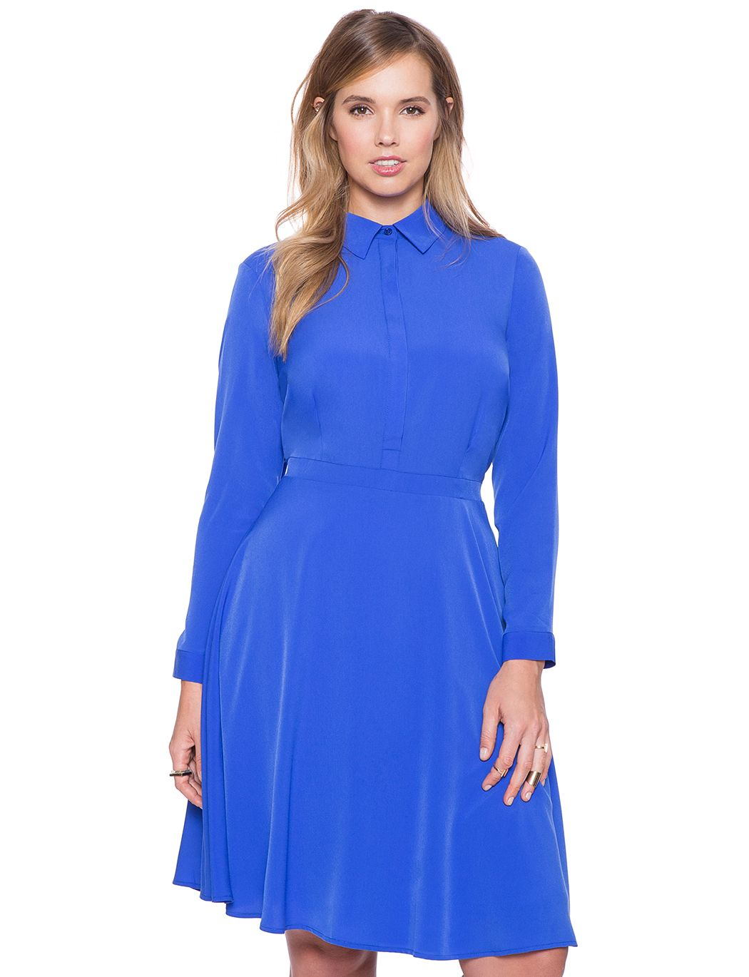 Silky Fit And Flare Shirt Dress Dazzling Blue Style Ish Dresses
