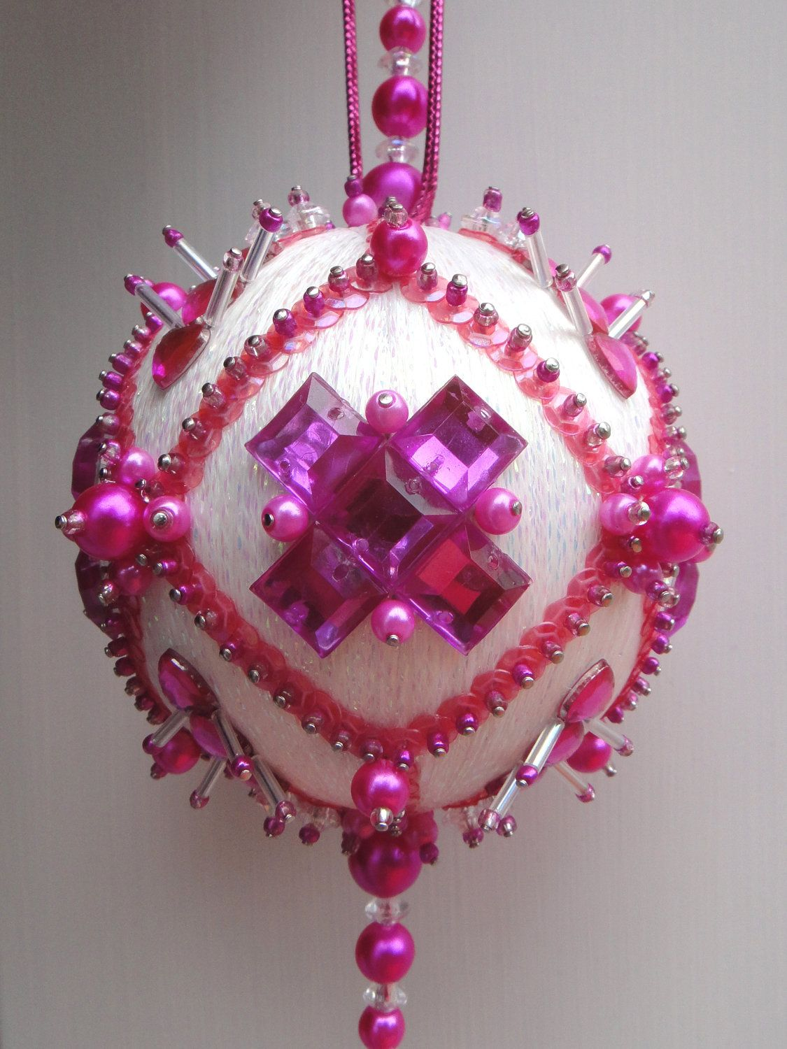 Miss Rose The Glimmer Tree Bead Sequin Satin Ball Christmas Ornament Kit