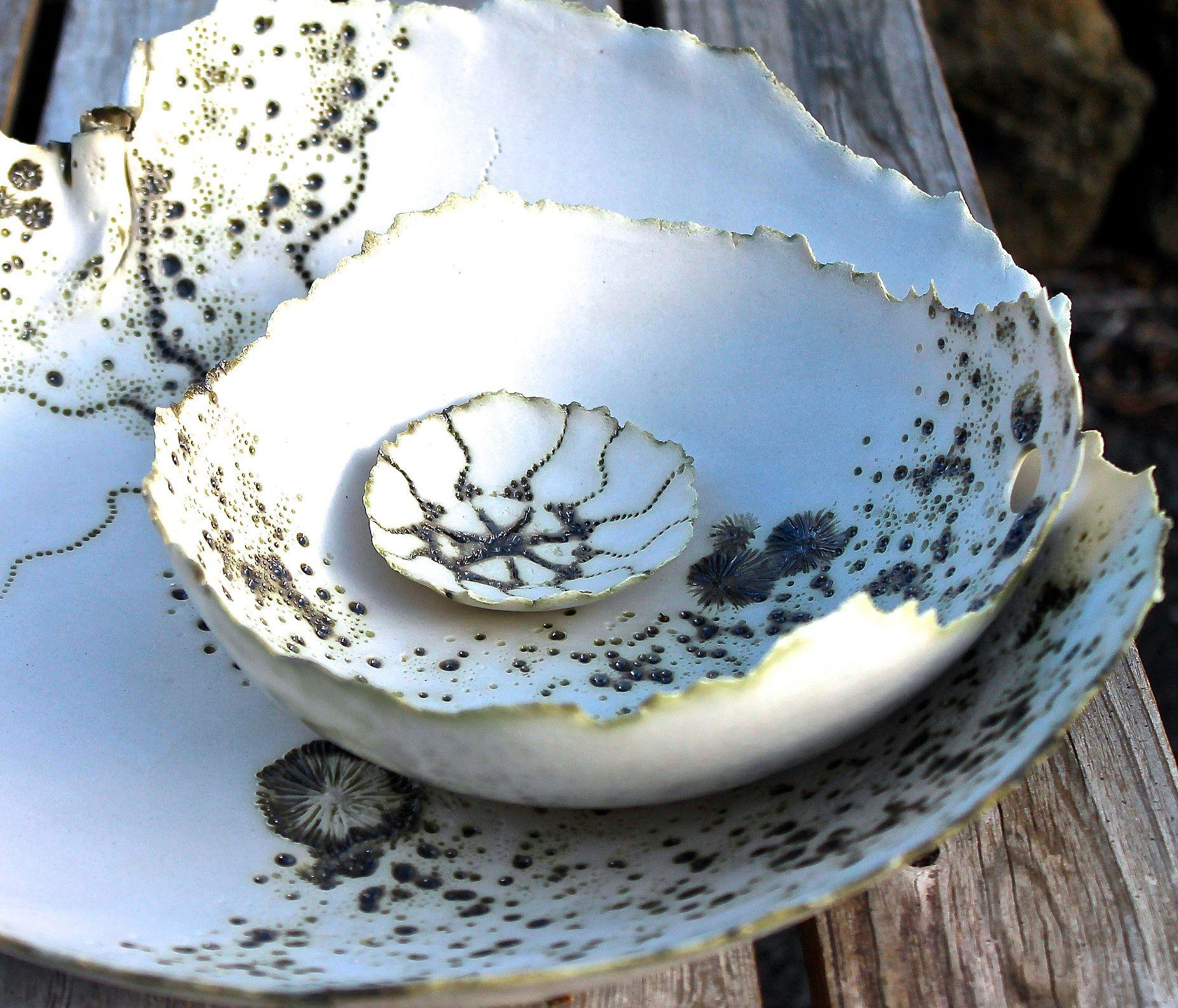 Handmade Ceramic Platter In Coastal Kitchen: Porcelain Ocean By Zoe Johnson: Handmade Porcelain
