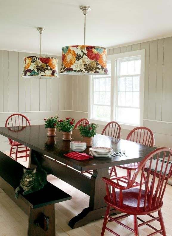 Dark Tabletop And Base With Red Chairs Farm Style Dining