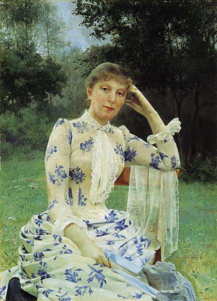 """Eva Aminoffin (o.s. Cronstedt) Muotokuva"" by Gunnar Fredrik Berndtson (Finnish, 1854-1895)."