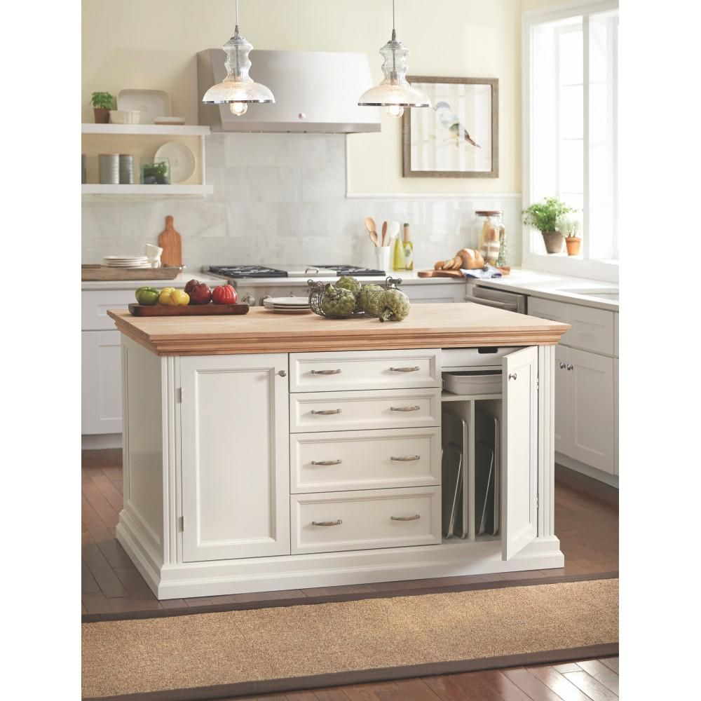 Martha Stewart Living Addison White Kitchen Island With Storage    9403800400   The Home Depot