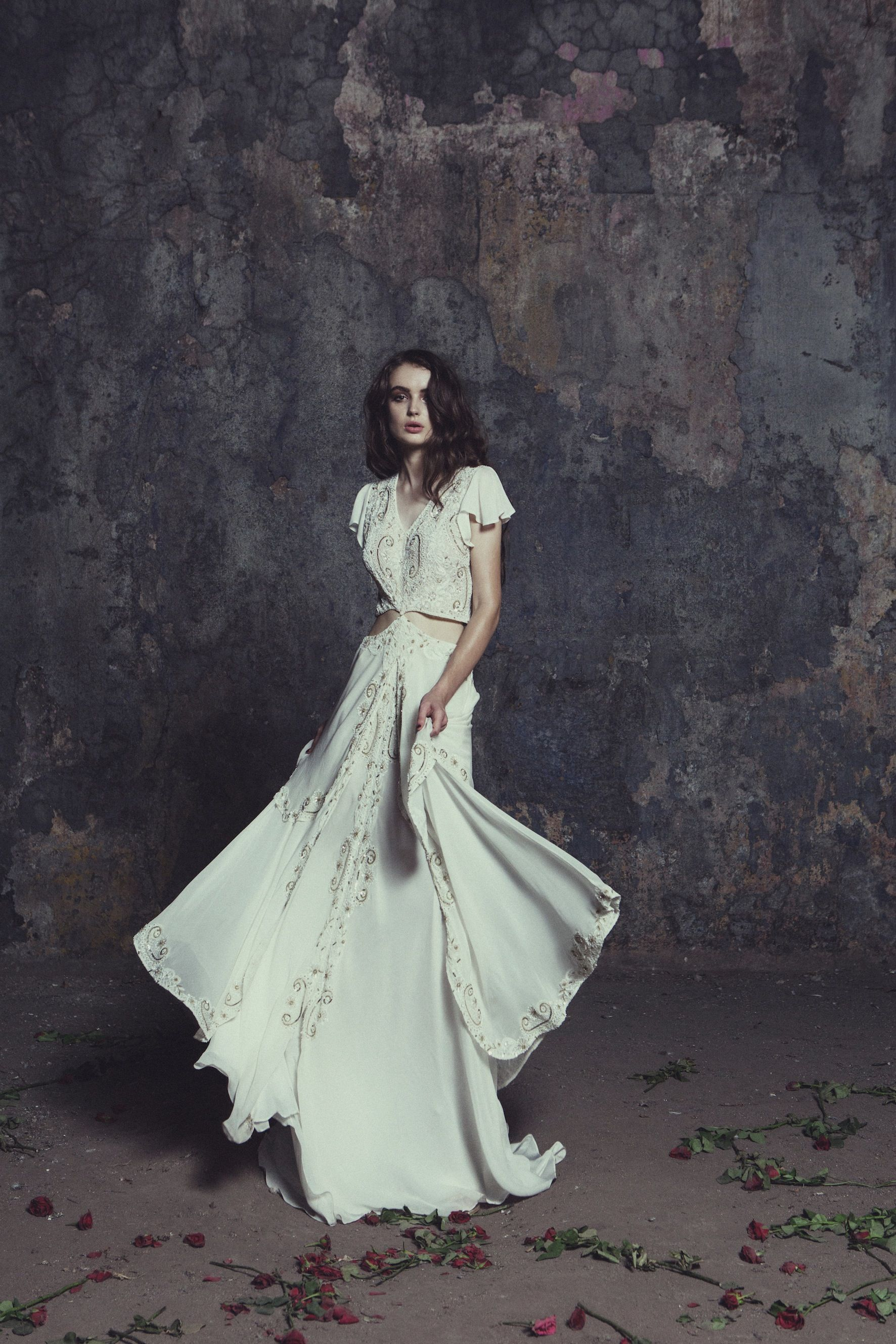 The risley this stunning two piece wedding gown has layers upon