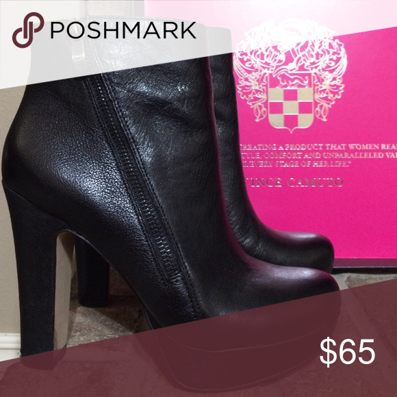 Vince Camuto Bootie Black leather Vince Camuto bootie. 4 inch heel 1 inch platform. Worn once and kept in box. Pristine condition! Vince Camuto Shoes Ankle Boots & Booties