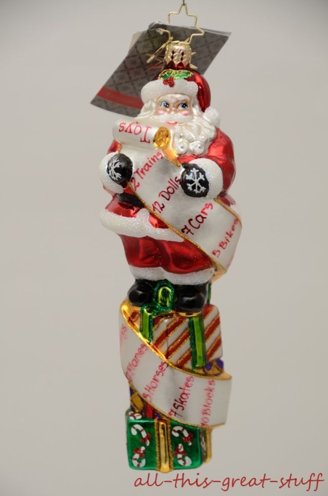 NWT CHRISTOPHER RADKO LIST TWIST Santa Claus LARGE $55 Christmas Ornament