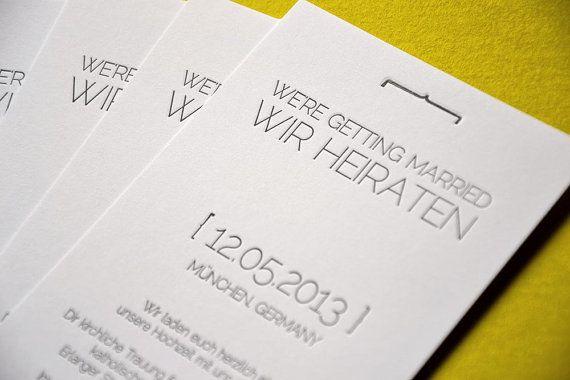 Ähnliche Artikel Wie Letterpress Hochzeits Einladungskarte U201eSquaredu201c    Karte Din Lang Auf Etsy