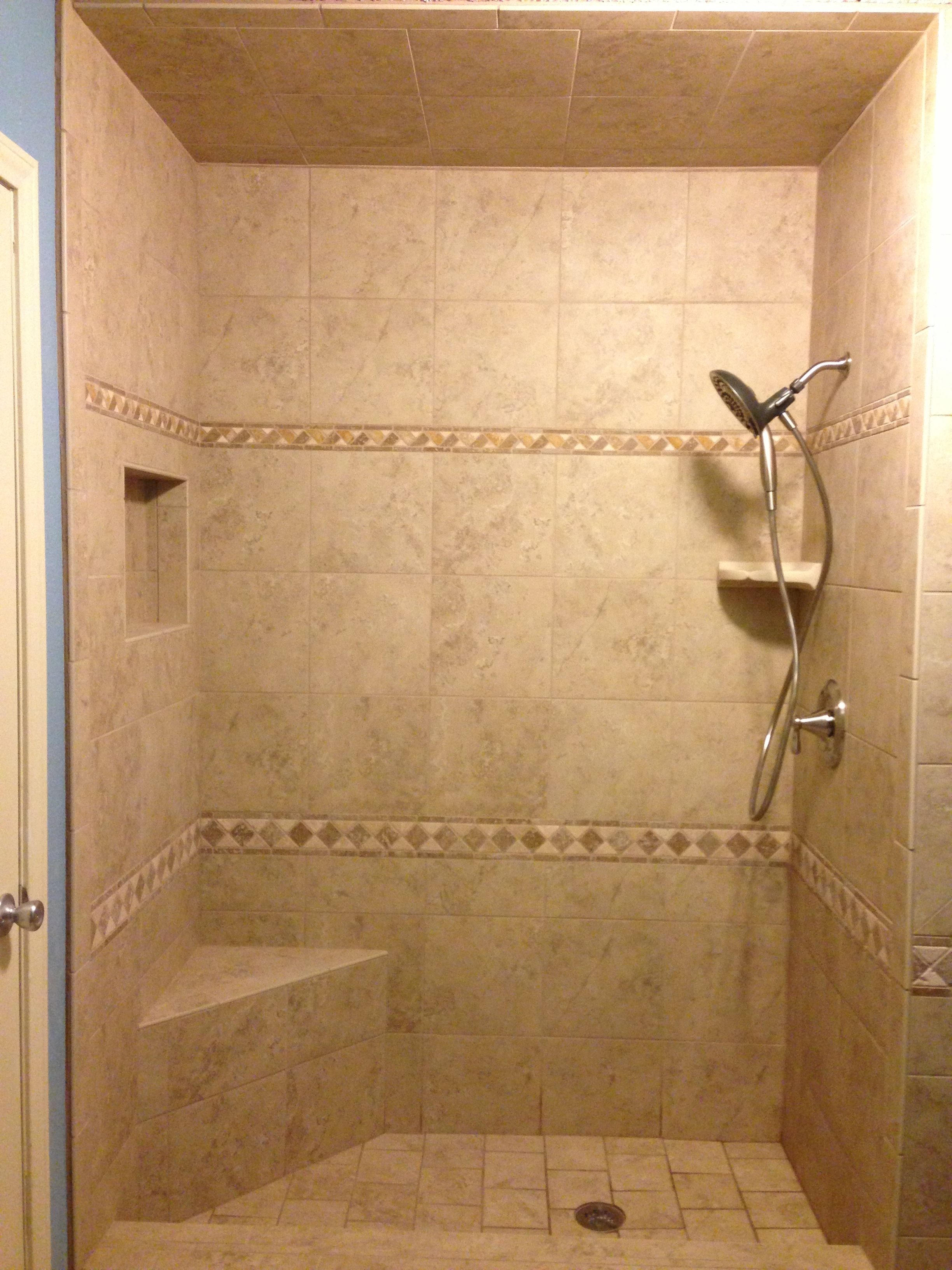 Girls bathroom- pulled out old tub shower combo- tiled natural stone ...
