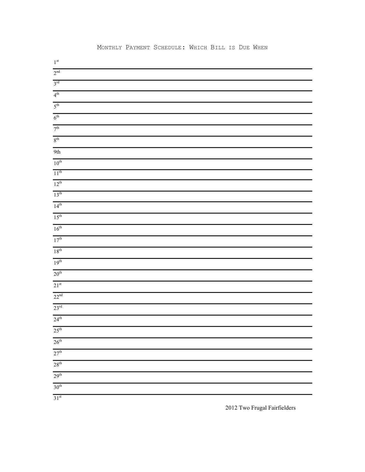 Monthly Calendar List Format