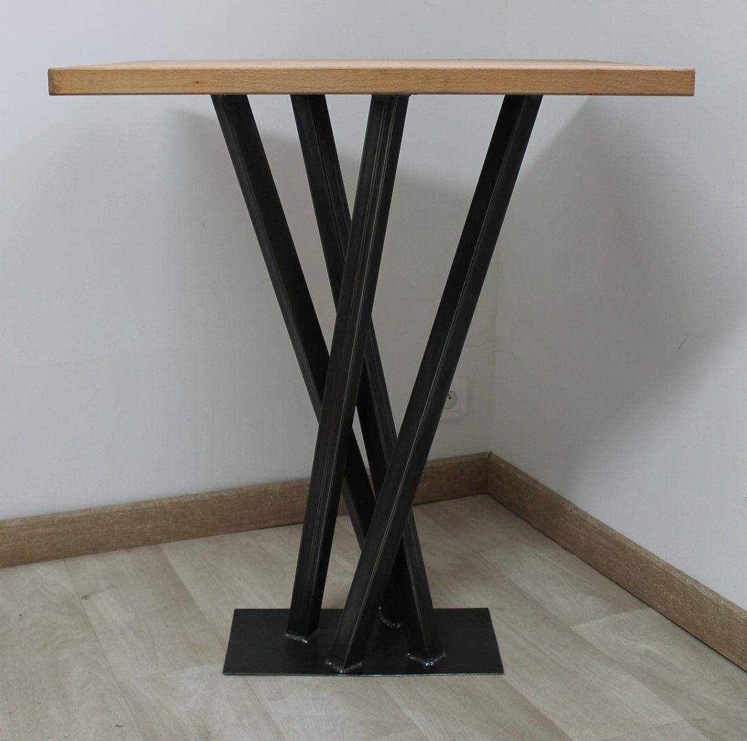 Table De Bar Bois Metal Artisanale Createur Mobilier Style