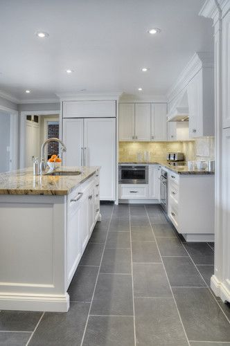 Kitchen With Grey Tile Floor