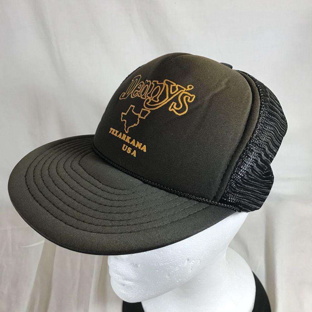 58fe9434d1e Vintage Dennys Restaurant Trucker Cap Mesh Hat Snapback Texarkana USA Brown   Nissan  Cap  Casual