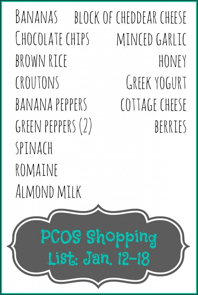 Weekly Meal Plan Shopping List And Food Prep Pcos Style Pcos Pcos Diet Plan Pcos Awareness
