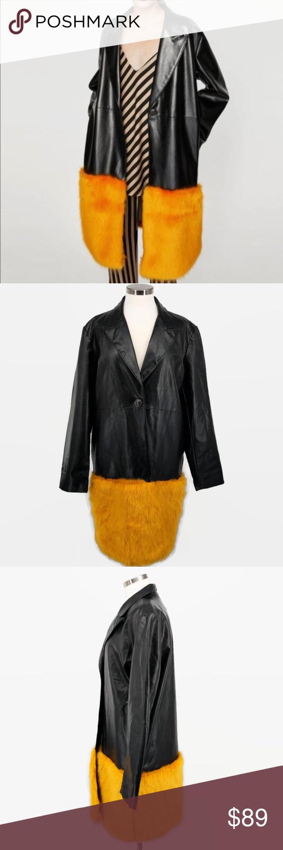 Zara Faux Leather Jacket with Orange Fur Trim Size NEW